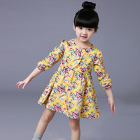 age toddler - 2 Ages Girls Dress Casual Long Sleeves Flower Princess Girl Dresses Summer Autumn Toddler Girl Clothing