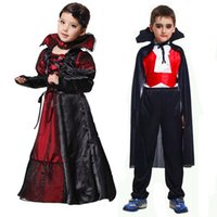 Wholesale Halloween Costumes Girls Boys Vampire Queen Children Cosplay Costume Halloween Kids Black Lace Party Dress Necklace Set Boy Couple Clothing