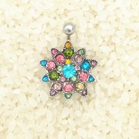 Wholesale 2016 luxury Stainless steel colorful Rhinestone Flower Crystal Belly Navel Button Bar Ring Piercing body piercing jewelry