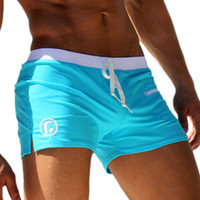 beach suits - Sexy Men Swimwear Swimsuits New Low Waist Men s Swimming Trunks Pocket Beach Surf Board Shorts Mens Swim Suits Brand