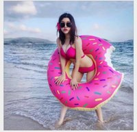 Wholesale Fashion High Quality Donut Thickened Swimming Ring Adults Inflatable Ride On Pool Toy Float Air Mattress Water Sports Fun Toys