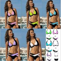 best women suit - New Summer Sexy Patchwork Bikini Woman Swimsuit Bandage Swimwear Best Soft Swimsuits Bathing Suit seven colors hight quality free ship