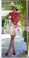 beauty bones - 2016 Red Lace Short Homecoming dresses Fashion A line Organza Cap sleeve Beauty Custom Mini Cocktail Party Dress Girls Plus Size Prom gown