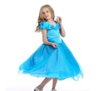 Wholesale New Arrival Christmas Kids Cinderella Dresses Dark Blue Ball Gown Cosplay Kids Birthday Party Gifts Lovely Chiffon Party Dresses