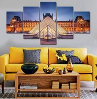 art louvre - 5 At Night The Louvre Art Pictures Large HD Modern Home Wall Decor Abstract Canvas