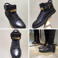 ankle sneakers - Unisex Increased Wedges Men Boost Shoe Gold Lock Logo Ankle Boot High Top Shoe Women Leisure Sneakers Plus Size
