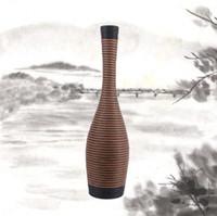 bamboo woven flooring - Rattan vase hand woven rattan vase Retro Style Home Hotel vase