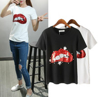 beaded tees - New Women s Summer T shirt Sequin Sexy Lip Short Sleeve Tops Tee Beaded Lady s Loose Cotton T Shirt White Black
