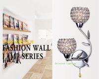 aluminium lampshade - Modern K9 Crystal Wall Sconce Aluminium Lampshade E14 V V Crystal Modern Wall Lamp for Home Decoration
