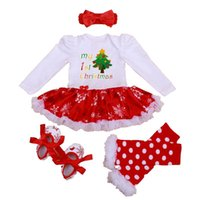 american cribs - My st Christmas Clothing Girls Outfits Tutu Lace Romper Dress Headband Leg Warmers Crib Shoes Newborn Baby Girls Clothes Kids Clothing Sets