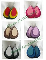 Wholesale Earrings Dangle Earrings pair Water Drop Wooden Wood Fashion European Women Earrings Colors Mixed WS8