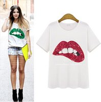 Wholesale 2016 Summer Cotton T shirt Star Street Snap With Lips Handmade Sequins Two Color