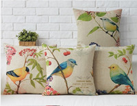 beauty happy - Happy birds nature forest branch beauty emoji pillow case massager decorative pillows art painting euro cover nature home decor