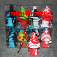 Wholesale Sticks Glasses - Non stick bho silicone container concentrate jar oil box silicone wax silicon oil jars glass pipes mouthpiece oil ecig dab box glass rig