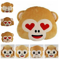 Wholesale Emoji Monkey Pillows Emoji Stuffed Dolls Monkey Plush Toys No Saying No Looking Throw Pillows No Listening Chair Couch Cushion Gifts