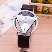 Wholesale 2016 Triangle Luxury Brand Geneva Unisex Watches Casual Ladies Fashion Dress Leather Band Unisex Watch Skeleton Mens Quartz Wristwatch Clock