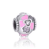 alice beads - Alice in Wonderland Round Pink Flower Charm with Swarovski Sterling Silver Bead Fit DIY Bracelets No50 lw D183
