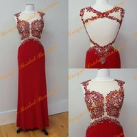 beautiful dance pictures - 2016 Beautiful Prom Dresses with Sheer Neck and Open Back Real Pictures Lace Appliques Crystals Ring Dance Gowns Fast Shipping