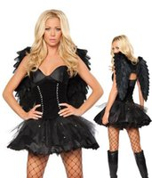 adult fairy wings - Sexy Halloween Black Dark Angel Costume For Women Fantasia Fairy Adult Halloween Fancy Dress Costume With Wing