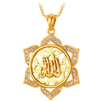 Wholesale New Trendy K Real Gold Plated Rhinestone Vintage Sunflower Shaped Allah Necklaces Pendants Jewelry For Women P209