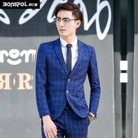 best men s blazers - Brands BONSPOL men s suits grid leisure suit men career suits best dress Luxury Men Suit Jacket Wedding Party Jacket Blazer