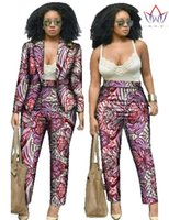 Wholesale Autumn Custom Traditional African Clothing for Women Dashiki Set Print Ladies Blazer Suits Long Sleeve Casual Suit Blazers WY019