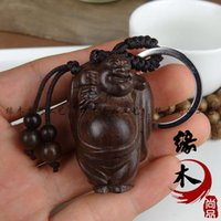 bag vietnam - Sell like hot cakes Vietnam aloes wood carving handicraft Key pendant Hand antique Bag is smiling Buddha
