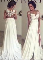 Cheap Sexy Split Side Wedding Dresses 2016 A Line Summer Beach Bohemian Bridal Gowns Sheer Neckline with Lace Appliques Vestido De Novia Custom