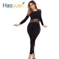 american apparel sheer - Rompers Womens Jumpsuit Sexy Bodycon Club Long Sleeve American Apparel Bodysuit Black Mesh Ladies Jump Suit Combinaison