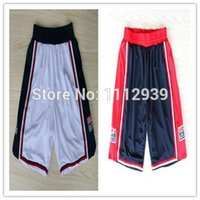 Wholesale Cheap New USA Dream Team Dark Blue White Basketball Shorts Embroidery Logos Accept Mix Order