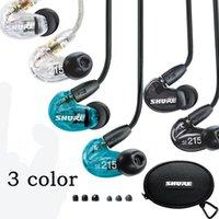 Wholesale Shure Se215 In Ear Handsfree Earphones Headset Se215 in ear Dynamic Earphone For Sellphones With Retail Box Packing Used