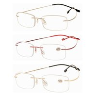 packs glasses frames al por mayor-3 Pack Lightweight Flexible titanio marco sin marco gafas de lectura de oro gris rojo