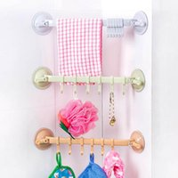 Wholesale Plastic Suction Cup Towel Bar with Hooks Bathroom Holder Towel Rack Storage Organizer Bathroom Toilet Towel Racks JI0175