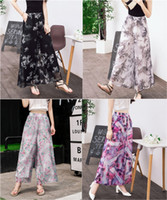 Wholesale 2016 Summer New Women Skirts Chiffon Flowers Printed Culottes Wide Leg Pants Trousers Nine Points