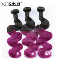 Wholesale Blue Ombre Peruvian Hair Cheap A Brazilian Virgin Hair Body Wave Purple Ombre Straight Human Hair Weave Bundles No Mix