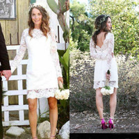 Wholesale Summer Full Lace Short Wedding Dresses With Long Sleeve Cheap Beach Backless Knee Length Boho Bridal Gowns Custom Made China EN4115