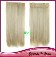 Wholesale Synthetic clip in hair straight high temperature fiber kanekalon clip hair fire retardant hair extension good texture