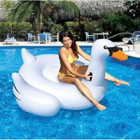 Cheap Giant White Swan Inflatable Flamingo With Handle Water Float Toy For Kids And Adult Pool Swimming Ring Raft 150CM PVC
