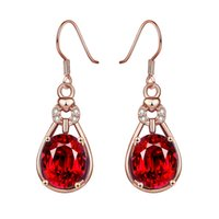 amazing brass - Amazing Saphire Jewelry Royal Red Zirconia Party Gifts Silver Filled Fashion Jewelry Topaz Crystal Hook Earrings for Ladies Women Teen Girls