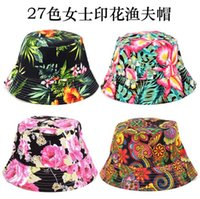 Wholesale 2016 New Fashion Women Summer Bucket Hat Casual Flower Sun Printed Basin Canvas Topee Hats Beanie Caps