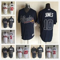 atlanta fabric - 2015 New Fabric Atlanta Braves Jersey Chipper Jones Freddie Freeman John Smoltz Greg Maddux Blue White Baseball Jerseys