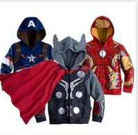 america coat - 2016 Kds Cartoon Cosplay Jackets Children Winter Hoodies Sweatshirts Outerwear Superhero Coat Ironman Holk Captain America Avenger Boys