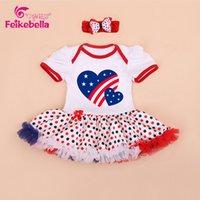 Wholesale Newest Design Baby th July Patriotic American Flag Heart Bodysuit Tutu Headband baby jumpsuit Children s clothing