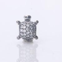 Wholesale new solid Sterling Silver charms full crystals turtle animal beads DIY Jewelry fits for pandora Making Bracelets Accessories