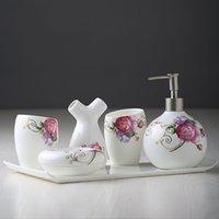 Wholesale European five piece bathroom ceramic bathroom suite wash gargle brushing cup wedding wedding gift set