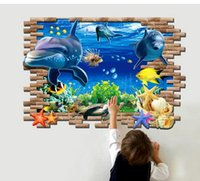 Wholesale new Sea Whale Fish d Wall Stickers for Kids Room living room DIY PVC sticker wallpaper decals Bathroom Decoration home decor