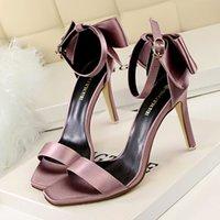 ankle support sandals - W16S088 Elegant Bowtie Summer Women Sandals Pumps Shoes Buckle Open Toe Ankle Strap High Heels Pumps Shoes Support Dropship