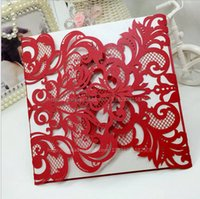 Cheap Laser Cut Red Wedding Invitation Card with Envelope Pearl Paper Greeting Card Thank You Card Festival Supply Free Shipping by DHL Q111
