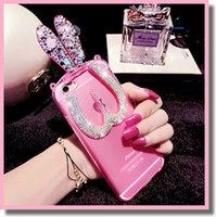 apple bunnies - Glitter Bling Dazzling iPhone Plus s s Cute D Crystal Foldable Bunny Ear Stand Bracket Shell Silicone Rabbit Rhinestone Diamond Case