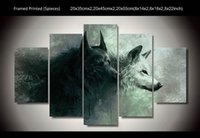 asian wall paintings - 5 Panel HD Printed wolf asian modern art painting wall art Canvas Print room decor poster canvas